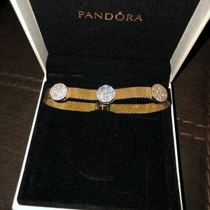 Pandora reflections gold bracelet with pavé charms
